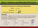 mean variance and standard deviation