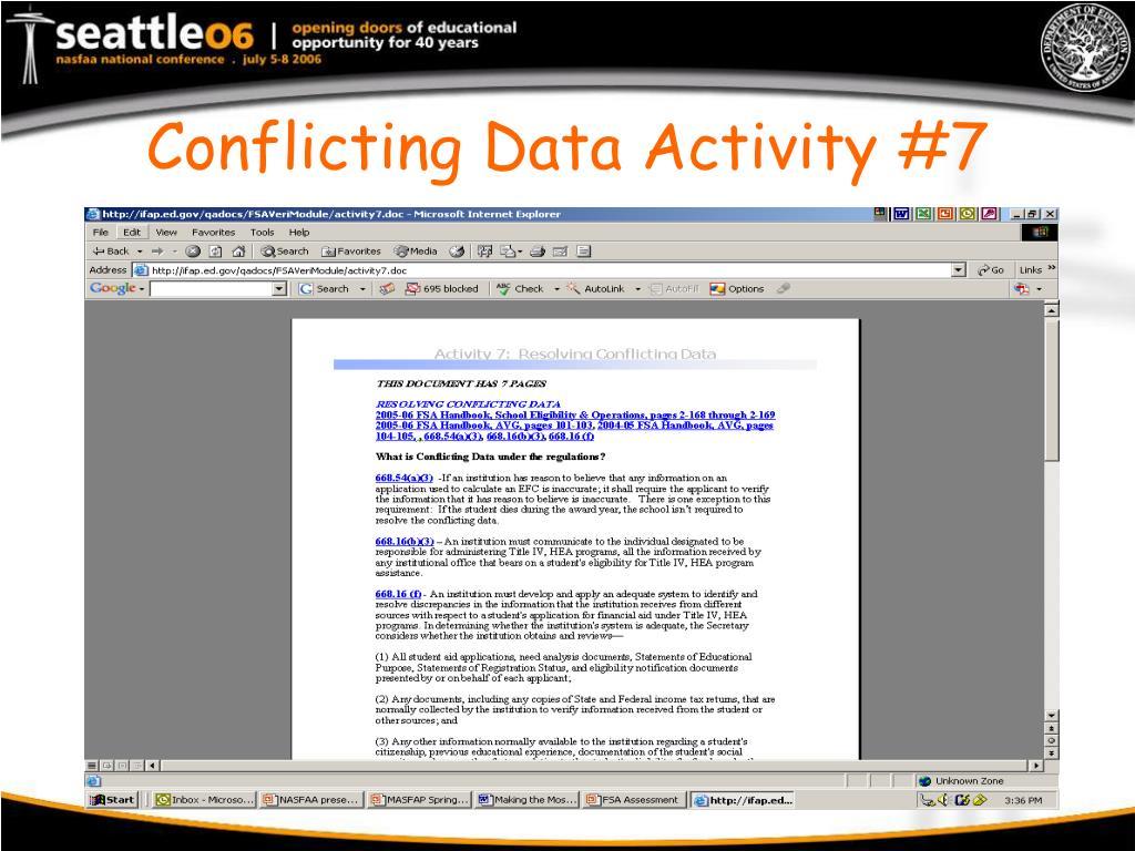 Conflicting Data Activity #7