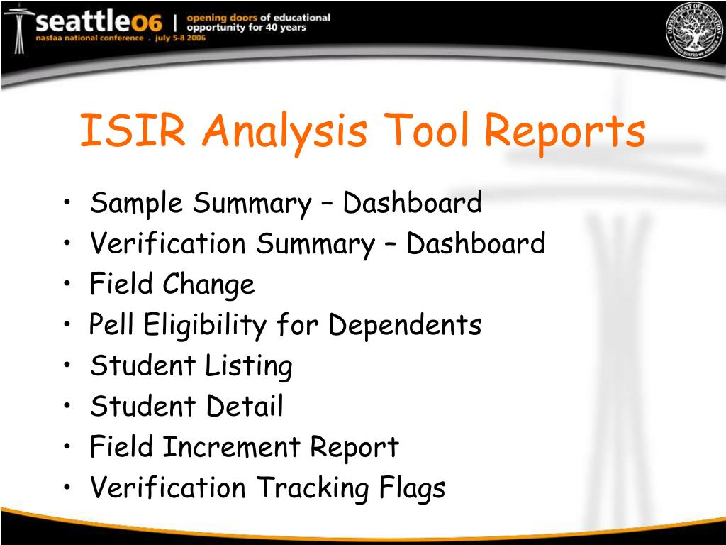 ISIR Analysis Tool Reports
