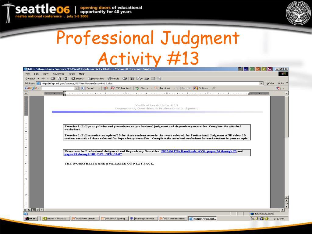 Professional Judgment Activity #13