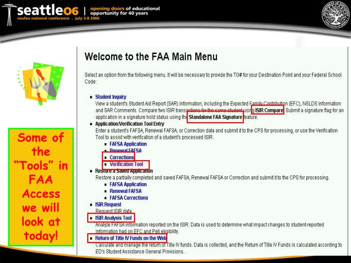 """Some of the """"Tools"""" in FAA Access we will look at today!"""