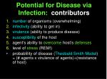 potential for disease via infection contributors