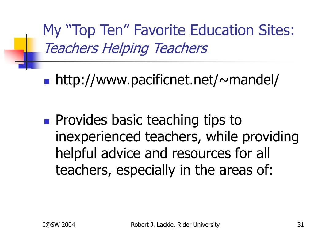 "My ""Top Ten"" Favorite Education Sites:"