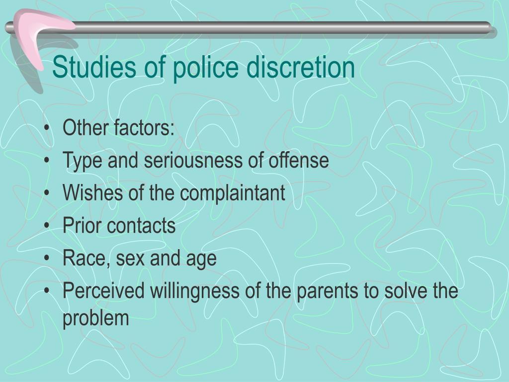Studies of police discretion