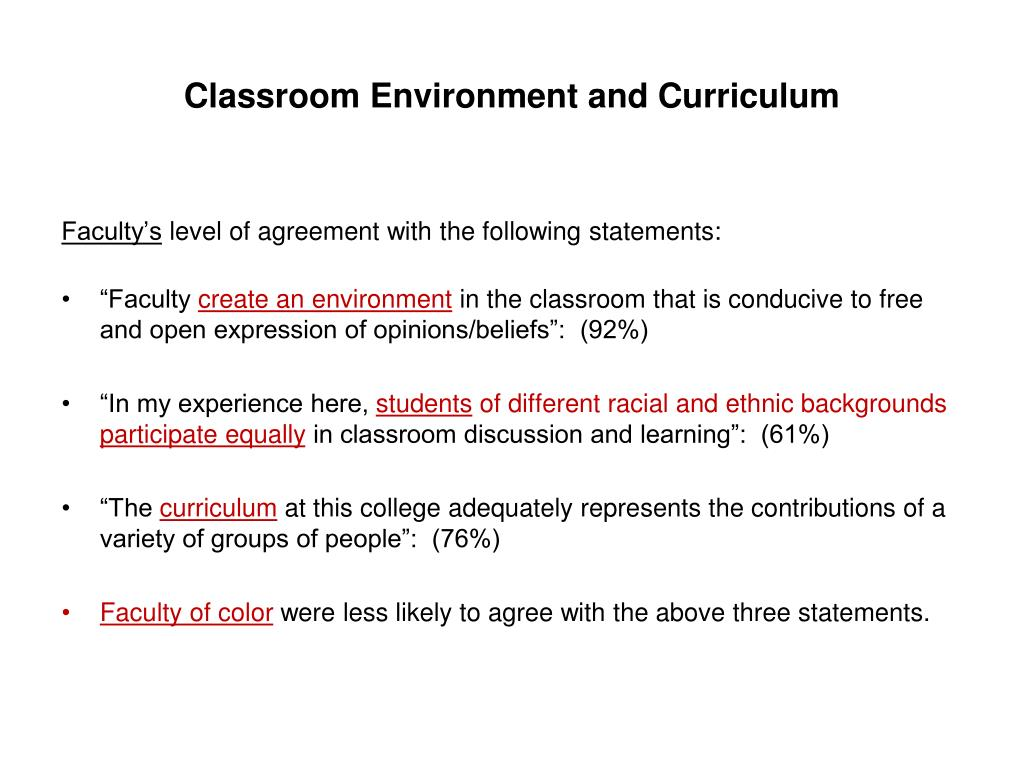 Classroom Environment and Curriculum