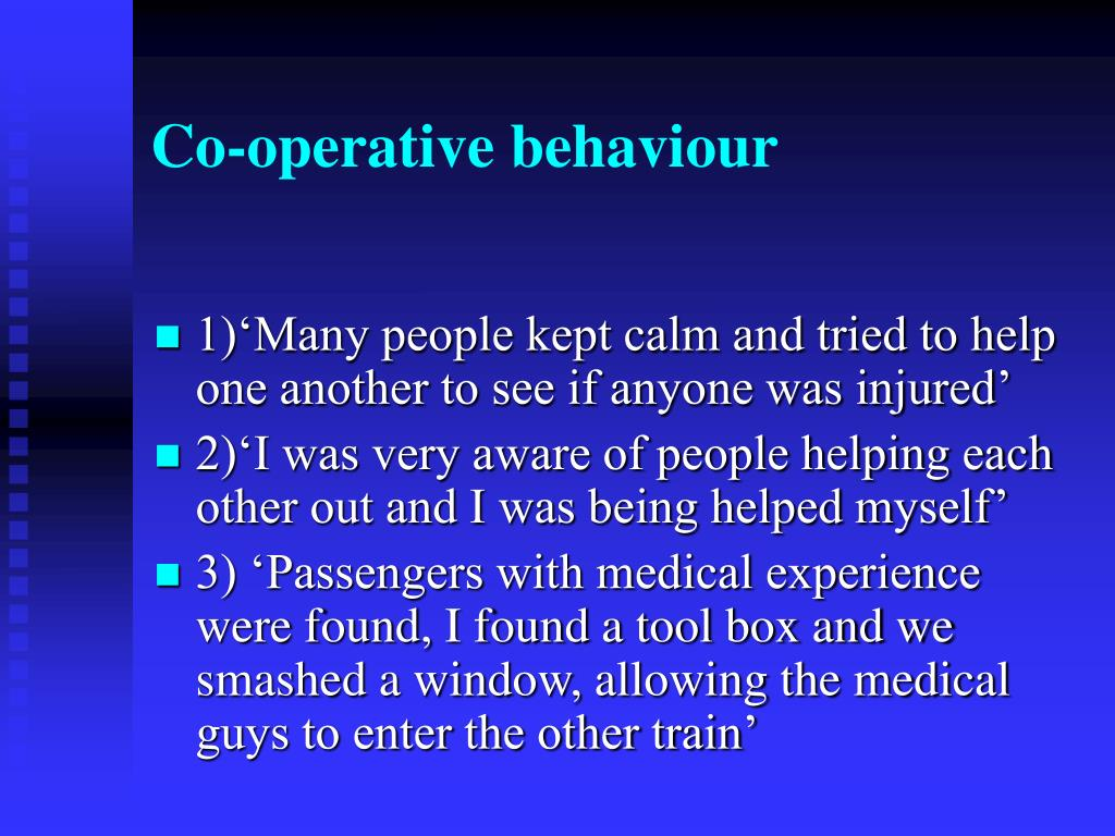 Co-operative behaviour