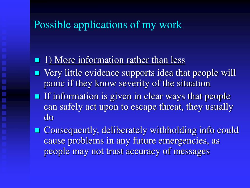 Possible applications of my work