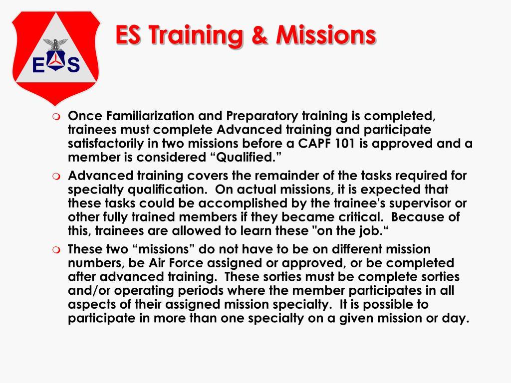 ES Training & Missions