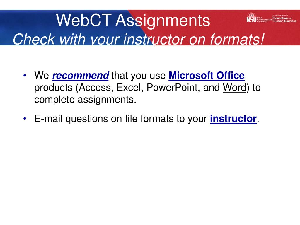 WebCT Assignments