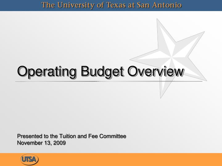 Operating budget overview