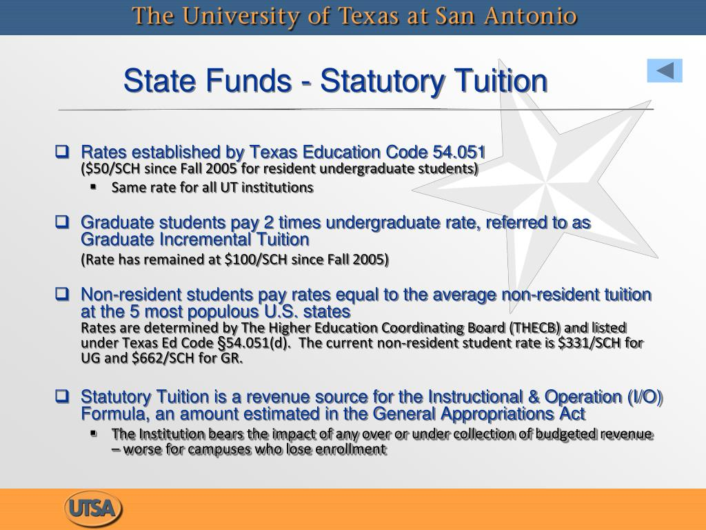 State Funds - Statutory Tuition