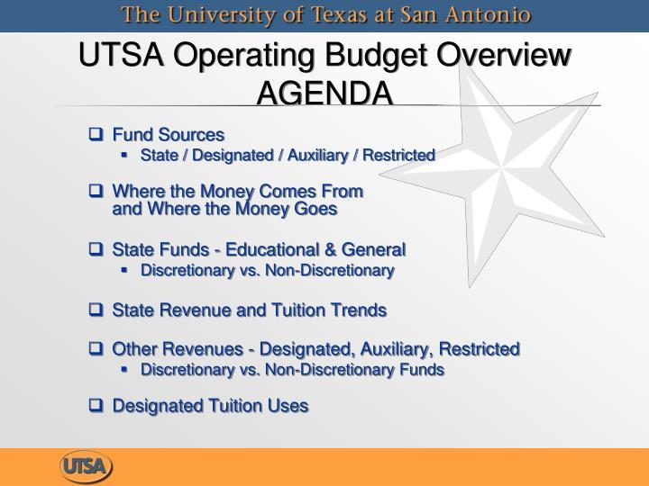 Utsa operating budget overview agenda