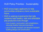 hud policy priorities sustainability