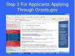 step 3 for applicants applying through grants gov