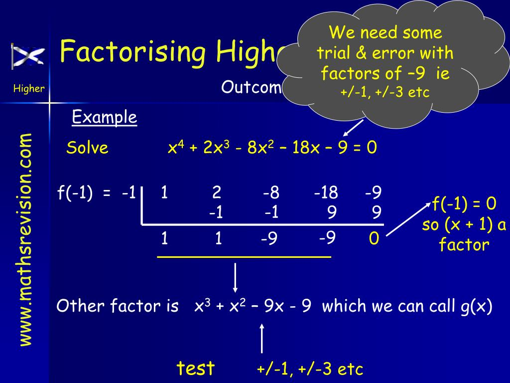 We need some trial & error with factors of –9
