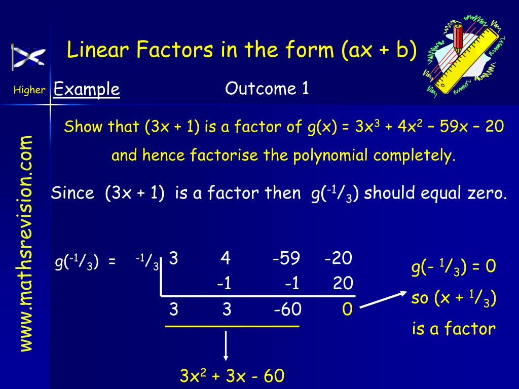 Linear Factors in the form (