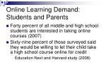 online learning demand students and parents
