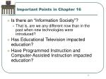 important points in chapter 16