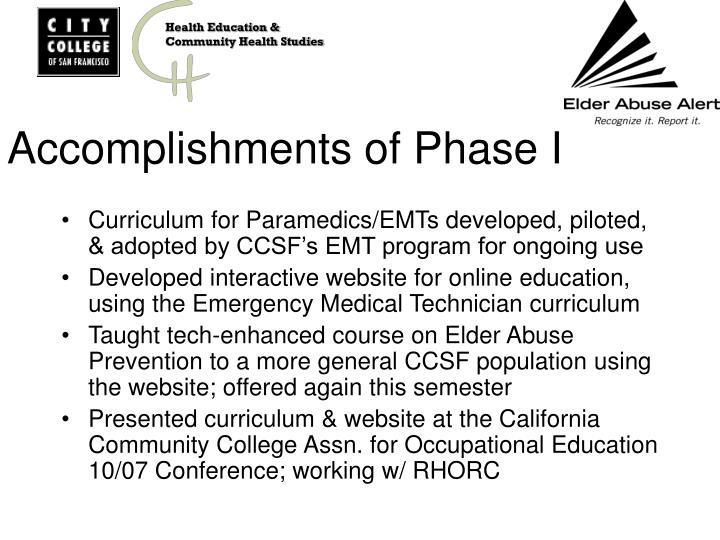 Accomplishments of phase i