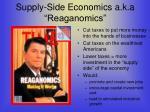 supply side economics a k a reaganomics