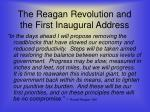 the reagan revolution and the first inaugural address