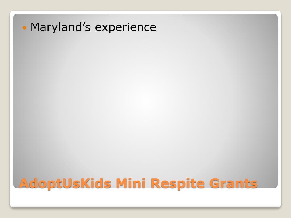 Maryland's experience