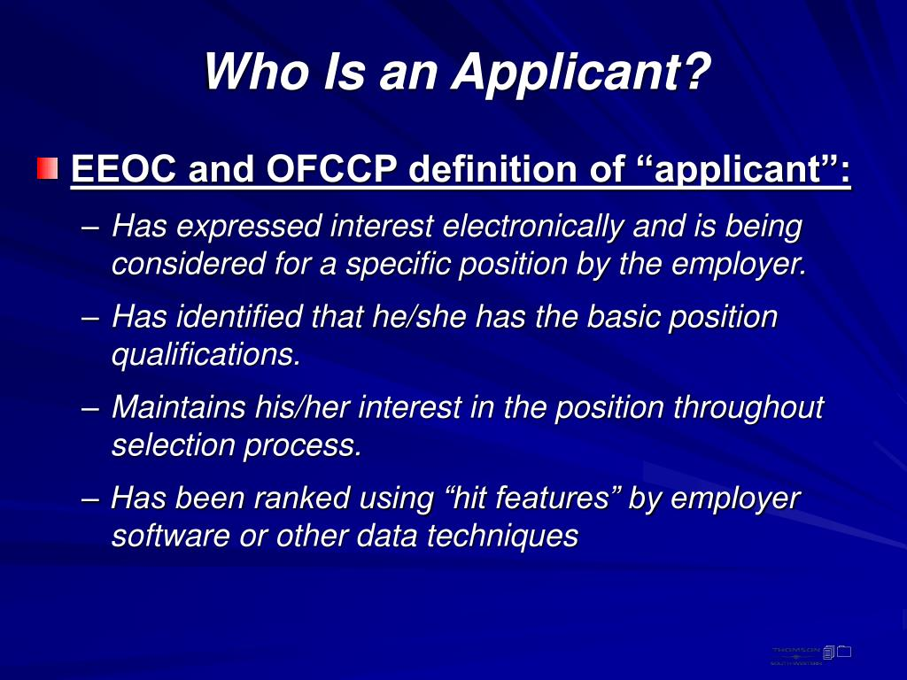 Who Is an Applicant?