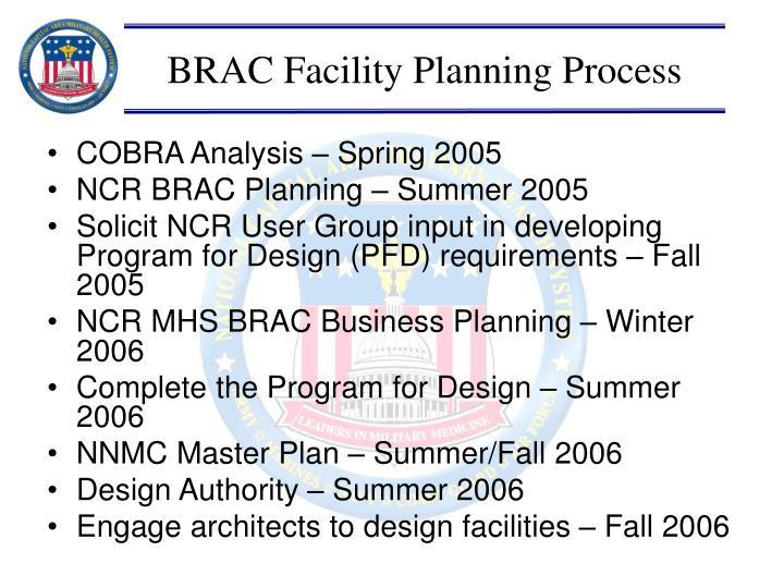 BRAC Facility Planning Process