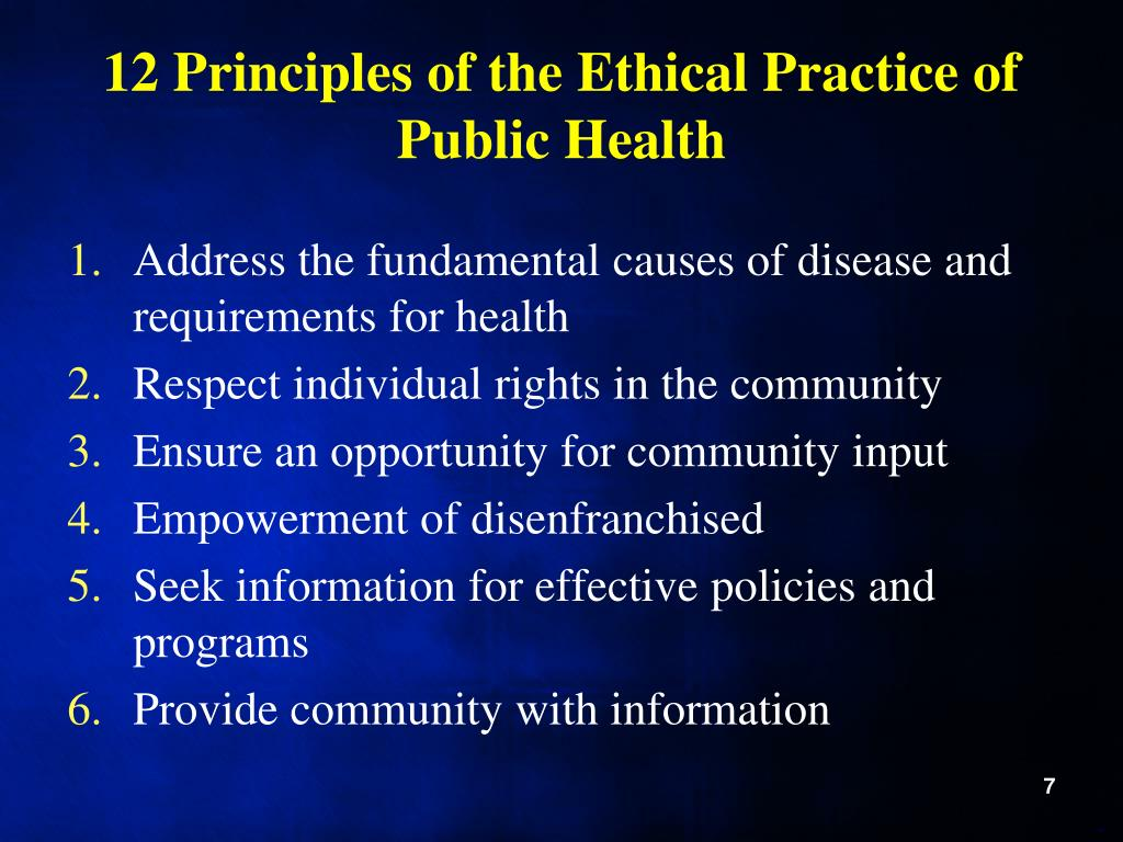 12 Principles of the Ethical Practice of Public Health