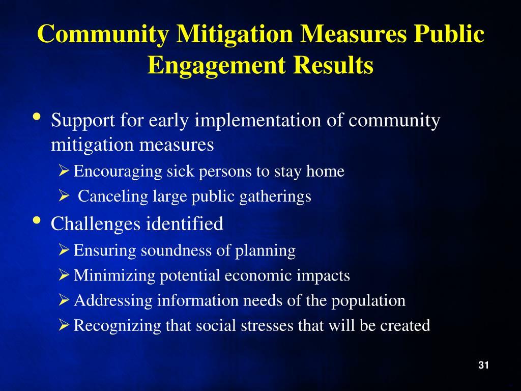 Community Mitigation Measures Public Engagement Results