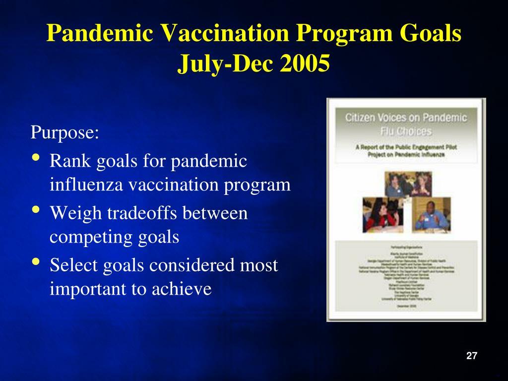 Pandemic Vaccination Program Goals July-Dec 2005