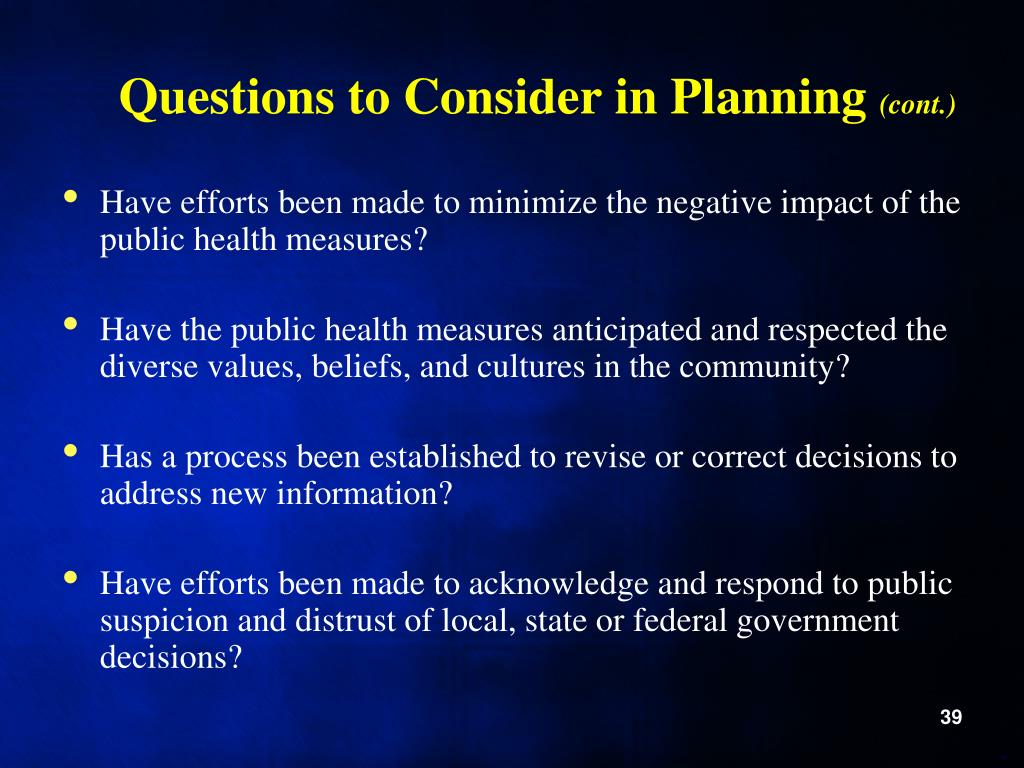 Questions to Consider in Planning