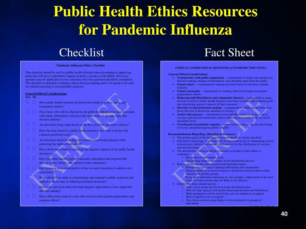 Public Health Ethics Resources