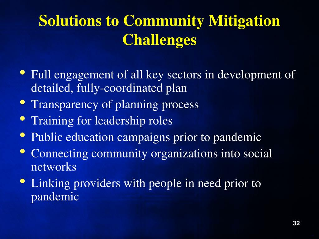 Solutions to Community Mitigation Challenges