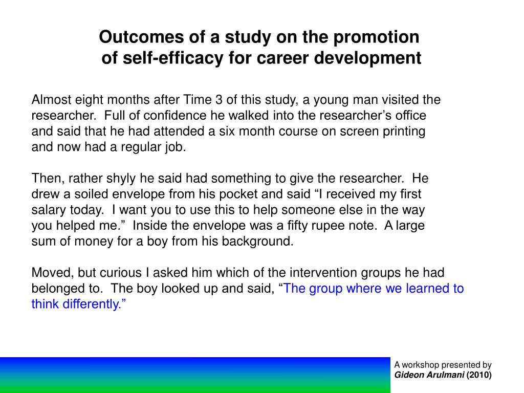 Outcomes of a study on the promotion