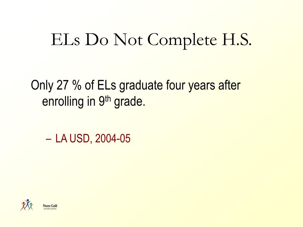 ELs Do Not Complete H.S.