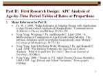 part ii first research design apc analysis of age by time period tables of rates or proportions