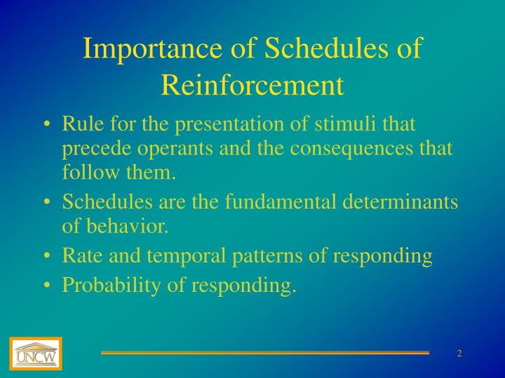 Importance of schedules of reinforcement