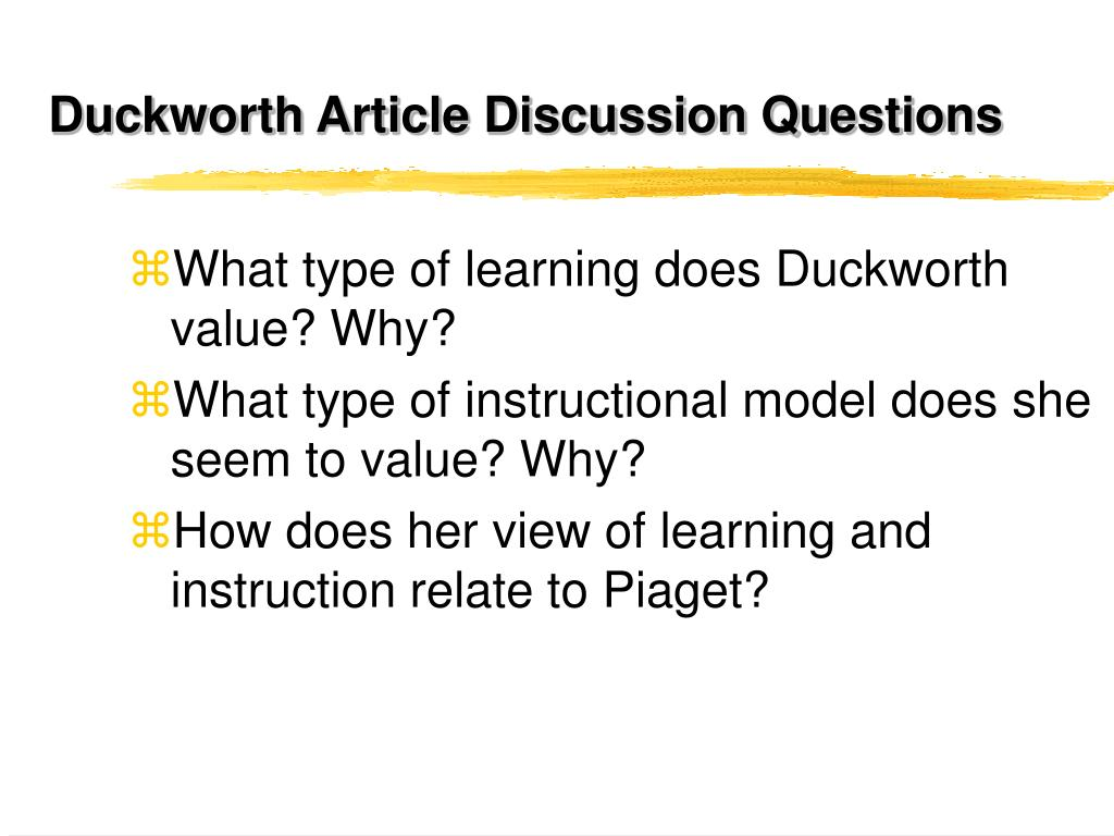 Duckworth Article Discussion Questions