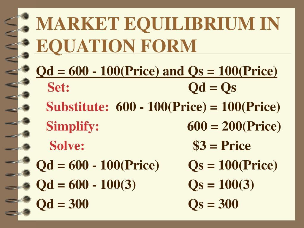 MARKET EQUILIBRIUM IN EQUATION FORM