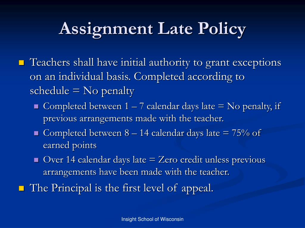 Assignment Late Policy