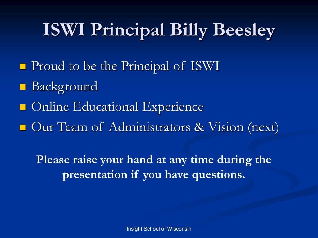 ISWI Principal Billy Beesley