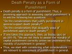 death penalty as a form of punishment