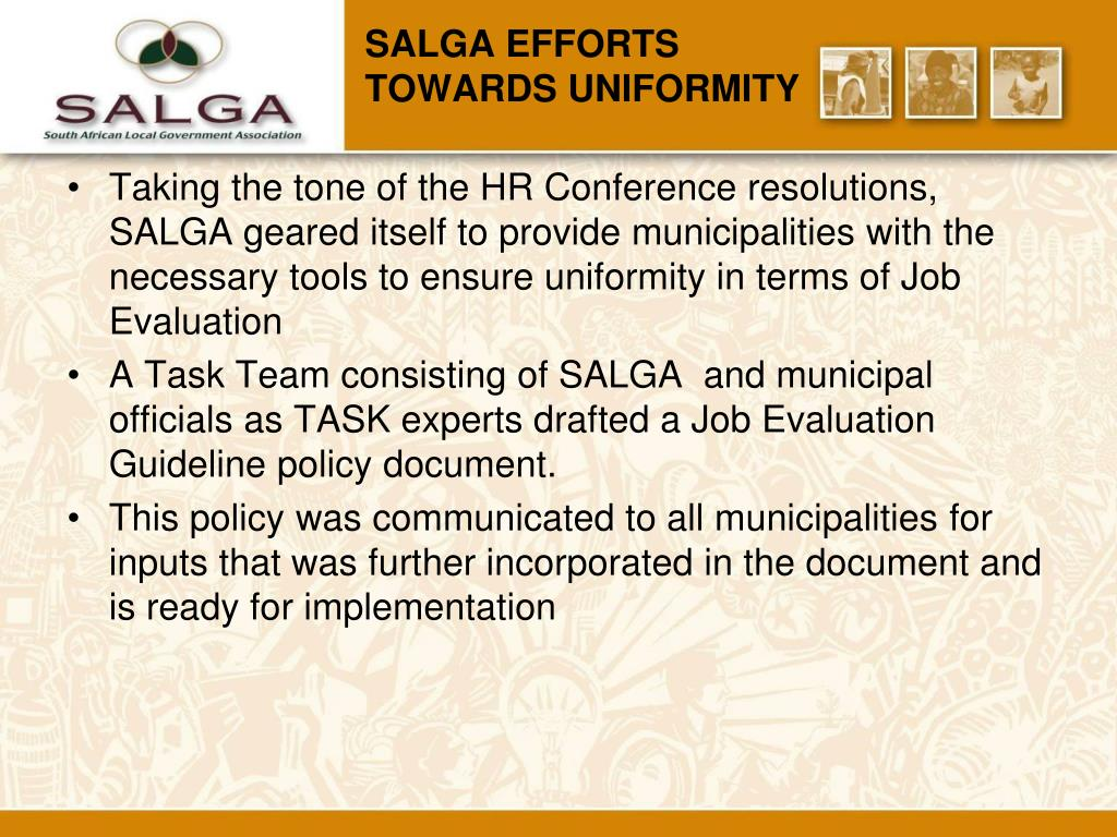 SALGA EFFORTS     TOWARDS UNIFORMITY