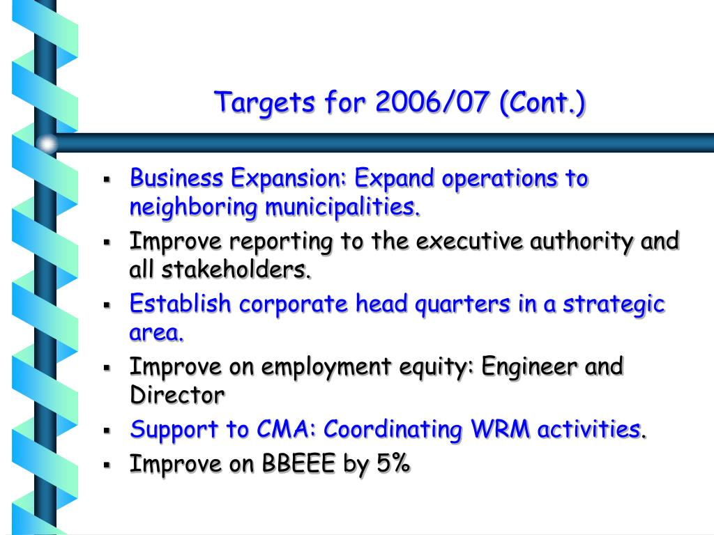 Targets for 2006/07 (Cont.)