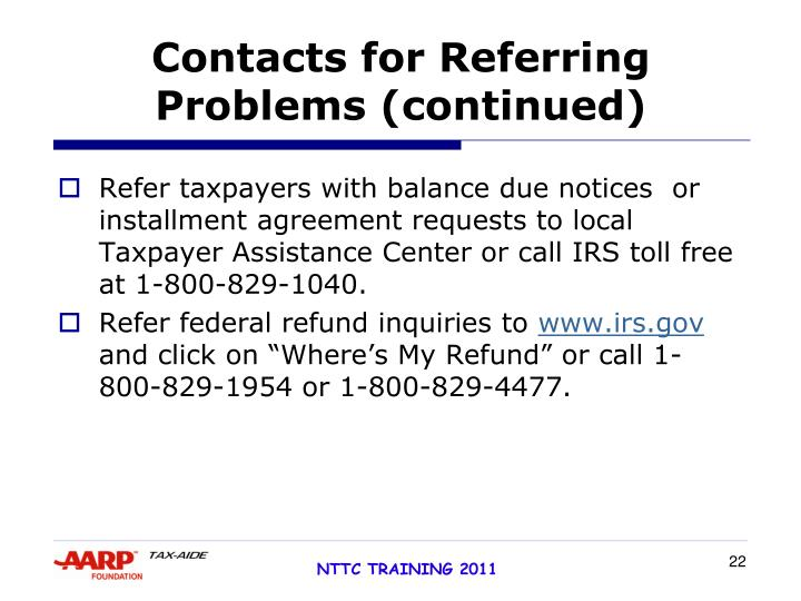 Contacts for Referring Problems (continued)