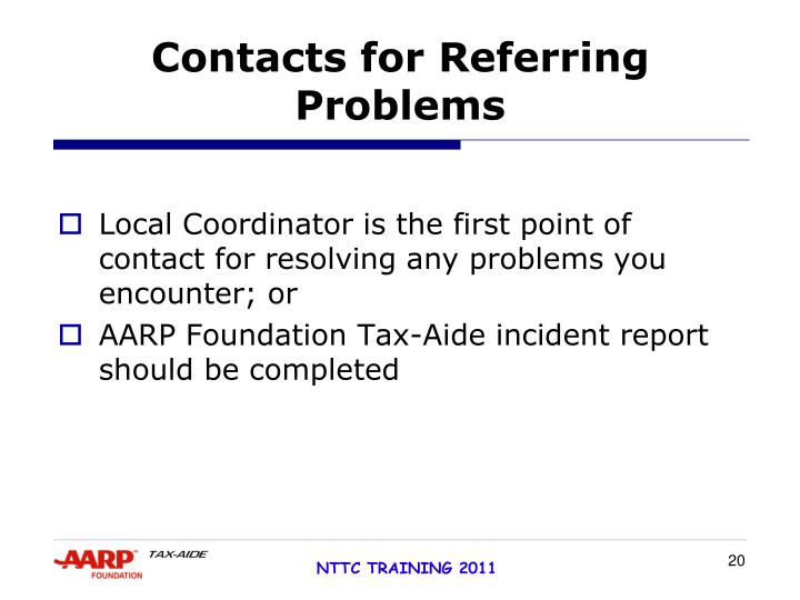 Contacts for Referring Problems