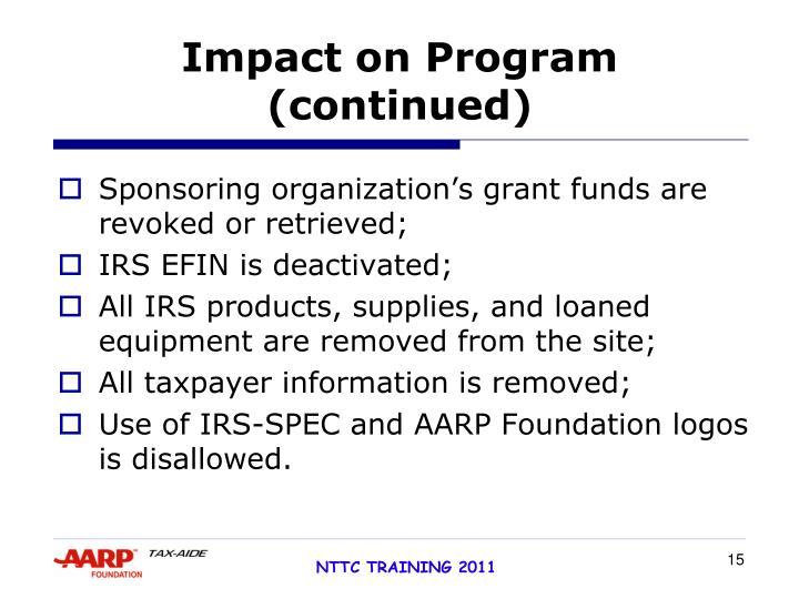 Impact on Program