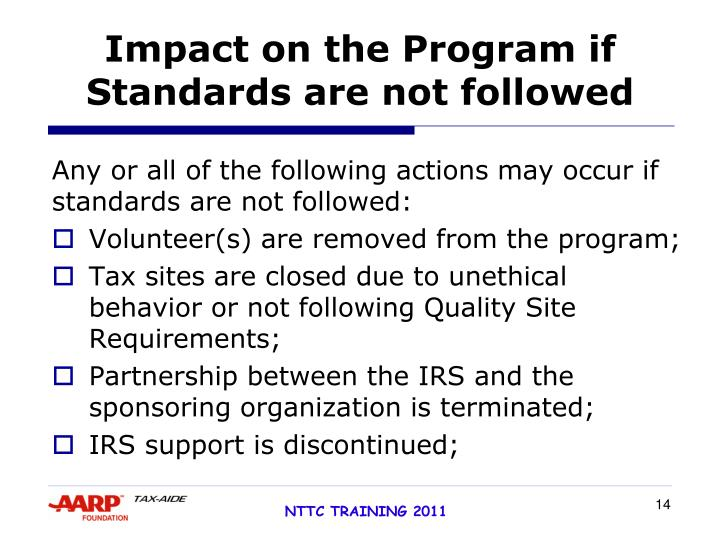 Impact on the Program if Standards are not followed