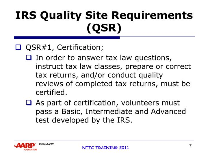 IRS Quality Site Requirements (QSR)